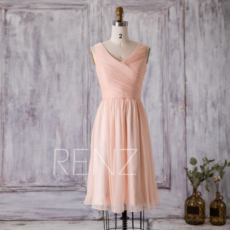 2016 Peach Bridesmaid Dress Short Wedding Dress By RenzRags