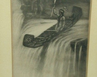 Original Signed Etching of Indian Maiden