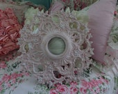 Stunning work of art, a upcycled shabby chic vintage white and pink flowered baroque ceiling medallion