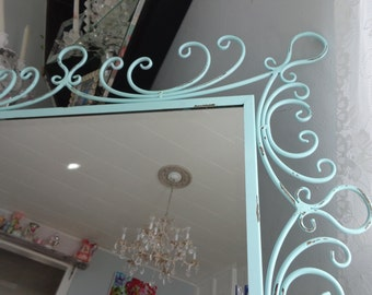 Wrought iron beveled glass, aqua Nursery, beachy, ornate distressed framed mirror