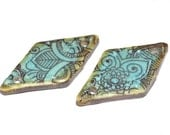Unusual Ceramic Earring Charms Pair Rustic Stoneware Pottery Paisley