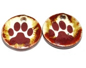 Unusual Ceramic Dog Paw Print Earring Charms Pair Rustic Stoneware Pottery