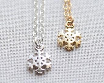 Tiny Snowflake Necklace - gold snowflake - 1253