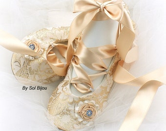 Gold Girl Flats,Champagne,Gold Ballet Flats,Confirmation,Flower Girl,Quinceanera,Prom,Bat Mitzvah,Ballerina Slippers,Lace Up,Elegant