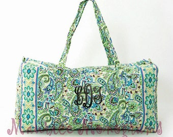 Personalized Quilted Large Duffel Bag, Gym, Dance, or OvernightBag Floral & Paisley Aqua and Green Print  Monogrammed FREE