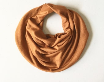 NEW Baby scarf / baby girl drooler scarf / toddler scarf / drooler bib / drooler scarf  / girl baby scarf / Potters Clay / rust / guguberry