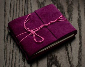Orchid Purple Leather Journal or Leather Sketchbook, Pocket Sized, Purple Leather Handbound Notebook