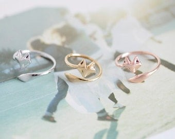Ring, adjustable ring, knuckle ring,  fox ring, silver plated fox ring, 18k rose gold plated fashion ring, adjustable fox ring