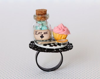 Alice in Wonderland Ring - Eat Me Drink Me  - Tea Party Ring - PInk Cupcake Ring - fairy Tale Jewelry -  Sweet Lolita Accessories