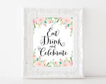 """Instant Download - Spring Shower Eat Drink Celebrate Sign - 8""""x10"""""""