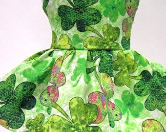 Green Clovers, St. Patrick's Day Sleeveless Dress for Your American Girl Doll