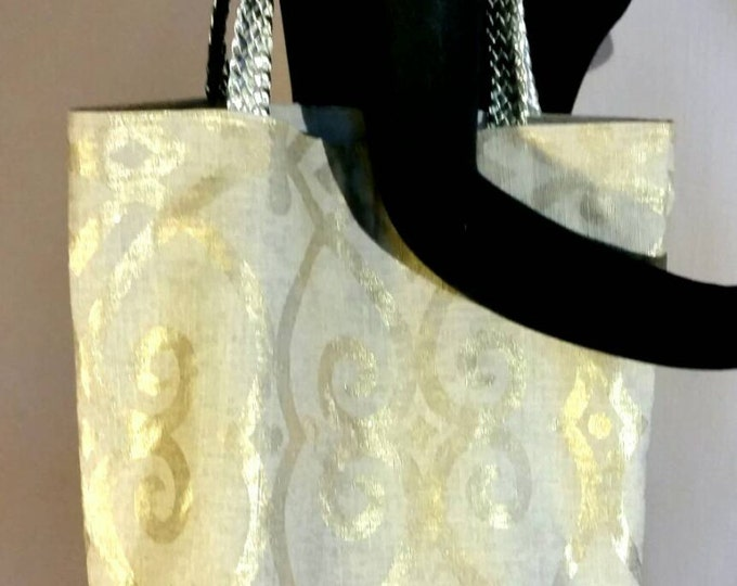 Tote Bag, Reversible Gold Printed Canvas Shopper Tote with Braided Gold Faux Leather Straps
