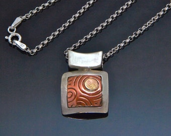 Square Silver Copper Spiral Sun Necklace Gold - Embossed Copper - Sun Spirals - Embossed Copper - Silver Copper Gold - Handmade BC Canada