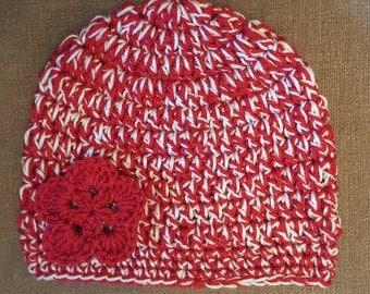 Adult Red and White Double-Strand Chunky Crochet Flower Hat/Beanie, UH Cougar, Nebraska Cornhusker, Wisconsin Badger