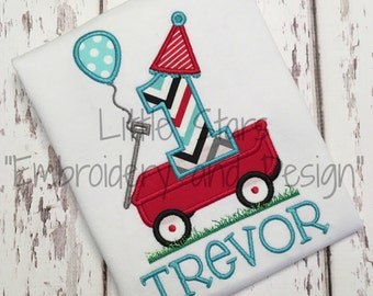 Birthday Number in Wagon - Appliqued and Personalized -  Choose Number