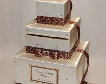 Cheetah print/Leopard print Wedding Card Box-Gold rhinestones