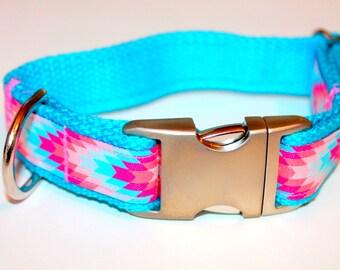 Dog collar Aztec Dog Collar Coral Dog Collar Summer Collar Tribal Dog Collar  Girl Dog Collar Pink Dog Collar Large Collar Small Collar
