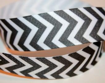 Grey Chevron Ribbon Chevron Grosgrain Ribbon Printed Grey Ribbon Grey Stripe Ribbon Chevron Stripe Ribbon Craft Supply 7/8 inch,