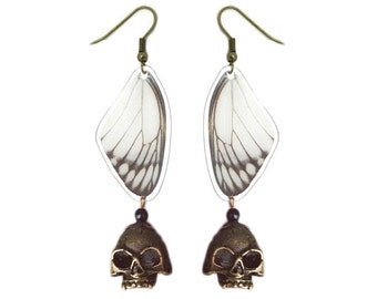 Real Butterfly Wing Earrings with Skull - Fashion Jewelry, Dangle Earrings, Lightweight, Natural, Colorful