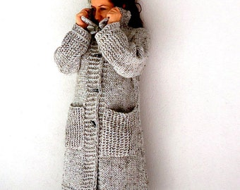 Gray Coat MADE to ORDER Knit Coat Knit Sweater Cardigan Grey hand knitted winter coat long sleeve Cardigan large pockets and Frilly sweater.