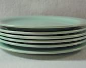Vernon Kilns Pistachio Modern California Plates Six Bread and Butter Plates