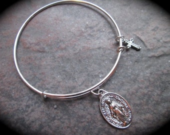 SPECIAL Virgin Mother Mary Miraculous Medal adjustable wire bangle bracelet