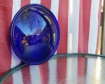 Industrial Salvage Cobalt Blue Glass Lens, Vintage Convex Glass Lens