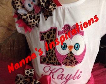 Owl Birthday shirt/Bow