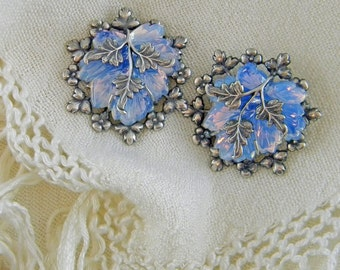 Opalescent Blue Glass Leaf Earrings, Silver Plated Flower Setting, Clip-on