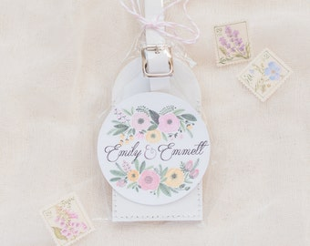 Wedding Favors - Floral Bouquet Leather Luggage Tags