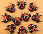 MOVING SALE 10pcs Christmas Minnie Mouse Inspired Reindeer For X'mas Resin Cabochon Flat Backs Flat Back Scrap Booking.