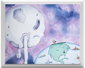 Moon and Earth Nursery Wall Art | Yellow Submarine | Nursery | Print | Earth | Nursery Art | Nursery Decor | Purple | Blue | Man in the Moon