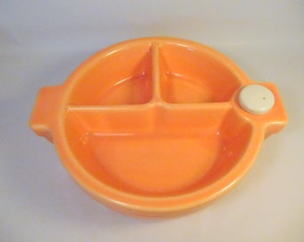 Vintage Baby Food Warmer Dish - Peach Orange - Divided - Porcelain with Cork Holds Hot Water