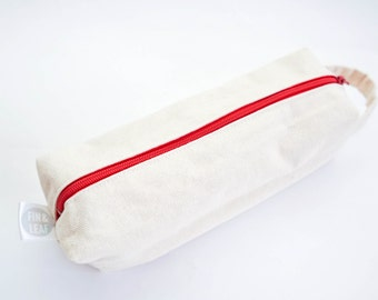 Canvas With Red Lining Rectagular Pencil Case