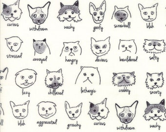 Emotion Expression Cat Fabric - Catatude from Meow or Never by Erin Michael from Moda 1/2 Yard