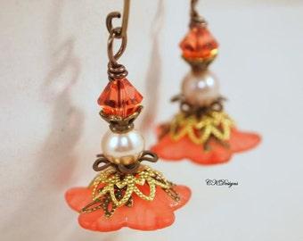 Lucite Flower Earrings, Peach Victorian Earrings,  Dangle Pierced of Clip-onEarrings. OOAK Handmade Earrings. CKDesigns.us