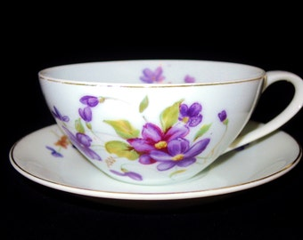 Unmarked Bone China Violet Teacup and Saucer