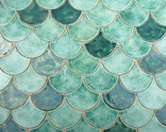 Fish scales tiles, unique tiles, original, unusual tiles