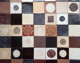 Coppery brown tiles, unusual tiles, original, 50 ceramic tiles set