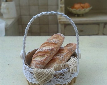 Dollhouse miniature bread little basket shabby chic style