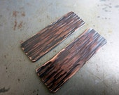 """Rustic Copper Earring Rectangles, Woodgrain Texture, Copper 1/2"""" x 1 1/2"""", Handmade Findings, Choice of Finish"""