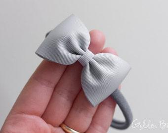 Bella Silver Bow Headband OR Clip - Handmade Baby Headband - Baby to Adult Nylon Headband