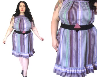 Plus Size Dress l 1970's Purple Striped Shift Dress l Size 2X l Vintage Dress
