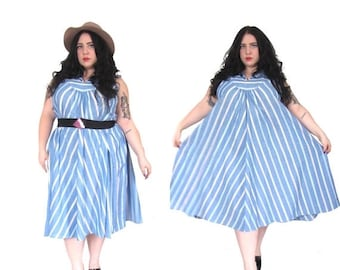 l SALE l Plus Size Vintage Dress l 1980's Striped Trapeze Dress l Size 2X -3X l Vintage Dress