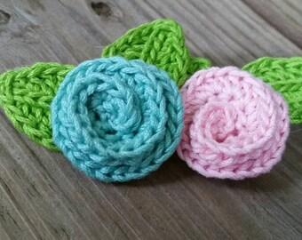 Crochet Rosette Barrettes