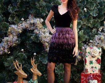Purple Amethyst / Black Ombré Feather Couture Pencil Skirt