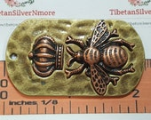 1 piece 54x30mm Queen Bee Dog Tag in Two Tone Antique Copper and Bronze Lead Free Pewter