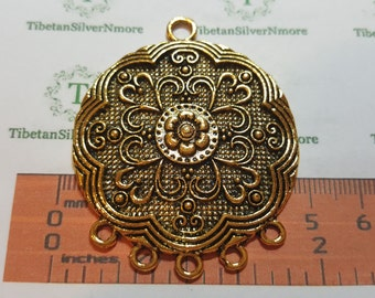 1 pc per pack 57x46mm 5 Loops Solids Chandelier Pendant Component Antique Gold Finish Lead free Pewter