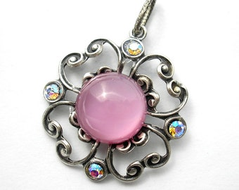 Pink Glass Antiqued Silver Pendant