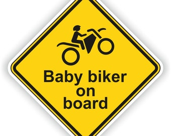 Wheelie Baby Biker on Board Warning Sticker for Bumper Car Laptop Book Fridge Guitar Motorcycle Helmet ToolBox Door PC Boat
